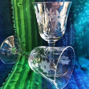 Two Etched Cordial Glasses